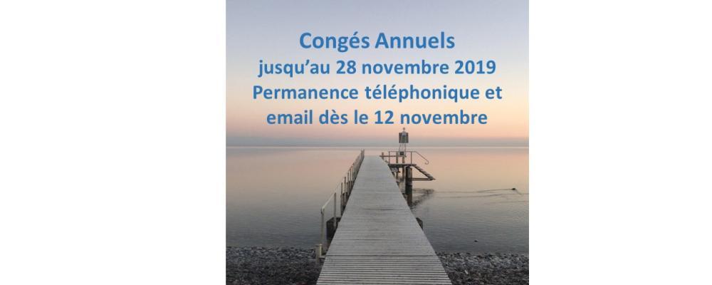 Congés 28 octobre-28 novembre 2019